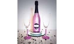 Bling Light Pink Prosecco and Glasses Set Large