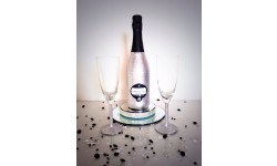 Bling Silver Prosecco and Glasses Set Large