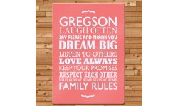 Personalised Family Rules Glass Chopping Board