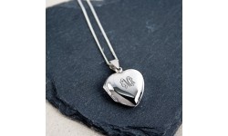 Personalised Silver Vintage Monogrammed Heart Locket