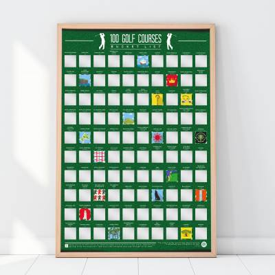 100 Golf Courses Scratch Off Bucket List Poster