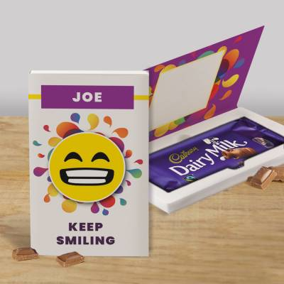 Personalised Keep Smiling Cadbury Chocolate Card
