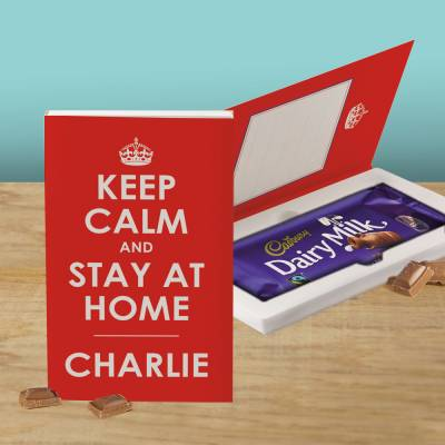 Personalised Keep Calm And Stay At Home Cadbury Chocolate Card