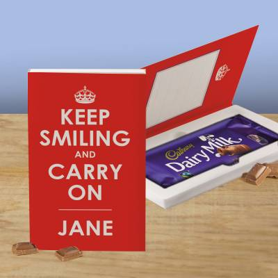 Personalised Keep Smiling And Carry On Cadbury Chocolate Card