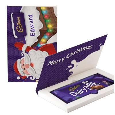 Personalised Cadbury Dairy Milk Santa Christmas Card 200g