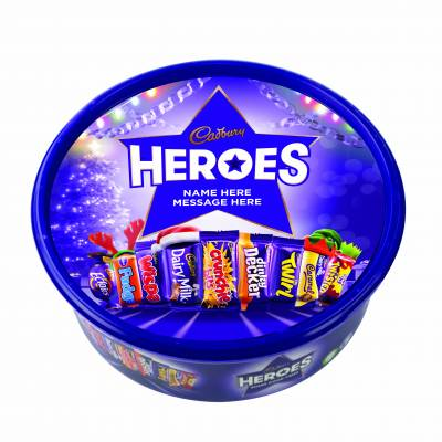 Personalised Christmas Cadbury Heroes Plastic Tub 580g