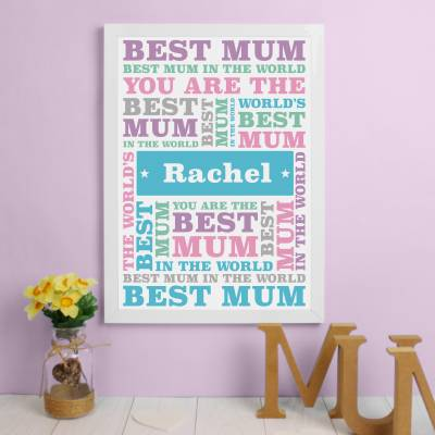 Personalised Best Mum A3 Framed Print