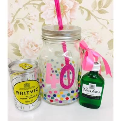 40th Birthday Gin And Tonic Mason Jar