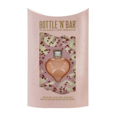 Bottle N Bar Pink Gin Heart and Chocolate Gift