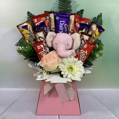 Its A Girl Bear Chocolate Bouquet