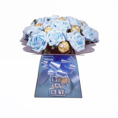 Baby Boy Flowers and Chocolate Bouquet - Baby Boy Gifts