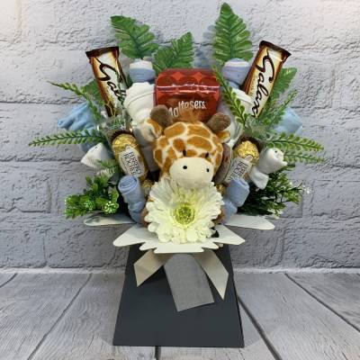 Baby Boy Clothes and Chocolate Bouquet