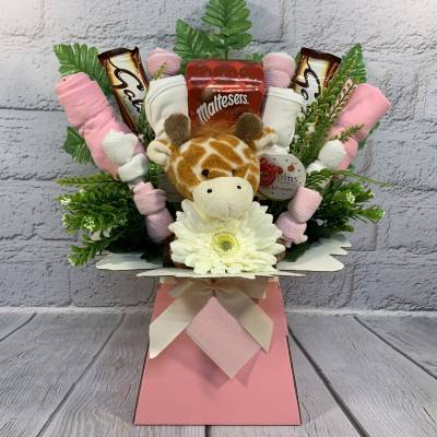 Baby Girl Clothes and Chocolate Bouquet