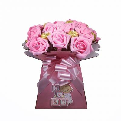 Baby Girl Flowers And Chocolate Bouquet