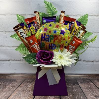 Happy Birthday Balloon and Flowers Chocolate Bouquet