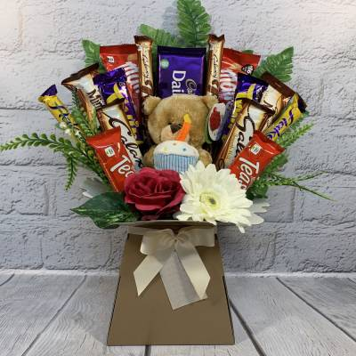 Happy Birthday Bear Chocolate Bouquet