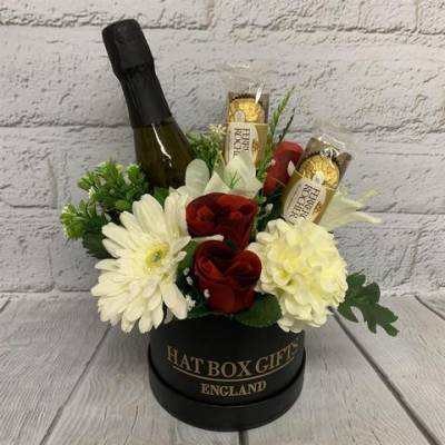Luxury Prosecco and Chocolates Black Hat Box