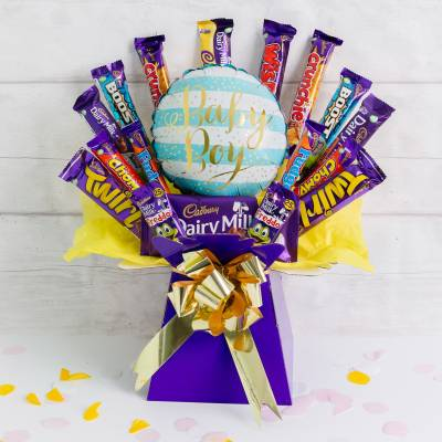 Welcome Baby Boy Deluxe Cadburys Chocolate Bouquet