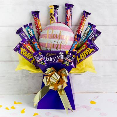 Welcome Baby Girl Deluxe Cadburys Chocolate Bouquet