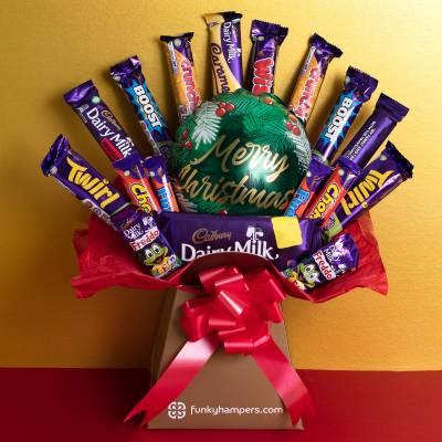 Merry Christmas Deluxe Cadburys Chocolate Bouquet