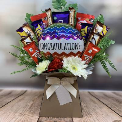 Congratulations Balloon and Flowers Chocolate Bouquet