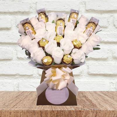 Ferrero Rocher Chocolate and Ivory Flowers Bouquet