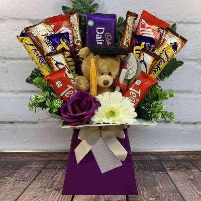 Graduation Bear Chocolate Bouquet