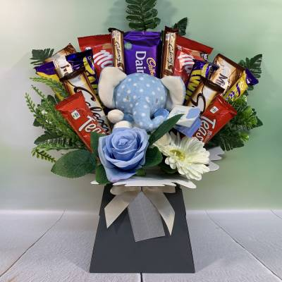 It's A Boy Bear Chocolate Bouquet