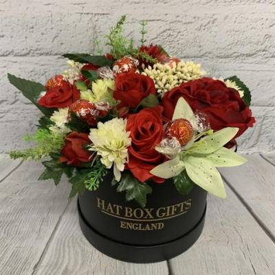 Luxury Chocolates and Silk Flowers Black Hat Box