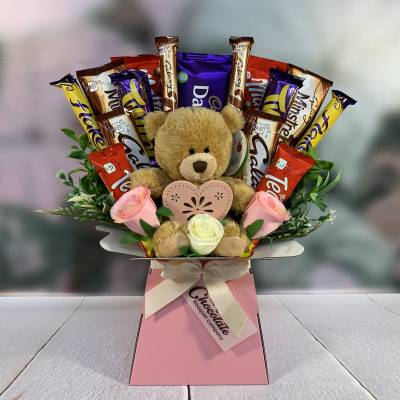 Mothers Day Chocolate and Teddy Bear Bouquet
