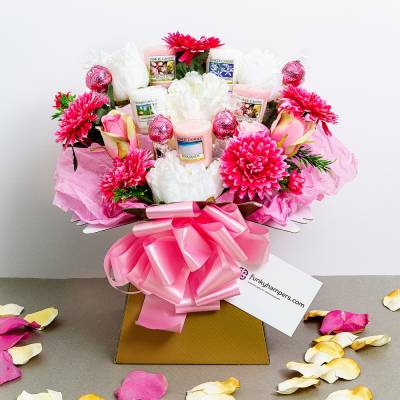 Pretty in Pink Chocolate and Yankee Candle Bouquet