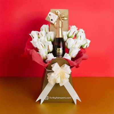 Prosecco and White Roses Belgian Chocolate Bouquet