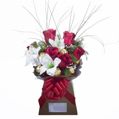 Luxury Red Rose and Lilly Chocolate Bouquet