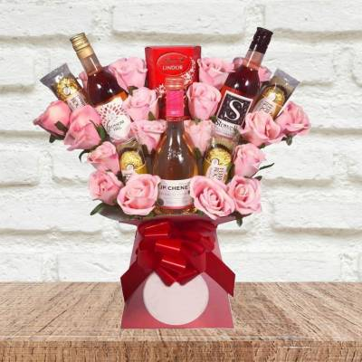 Rose Wine and Pink Roses Chocolate Bouquet