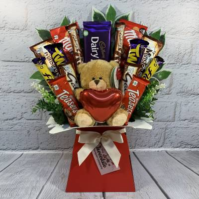Valentines Day Chocolate and Teddy Bouquet