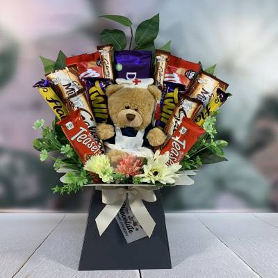 Get Well Soon Bear Chocolate Bouquet