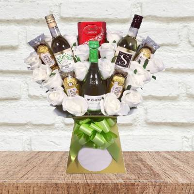 White Wine and Roses Chocolate Bouquet