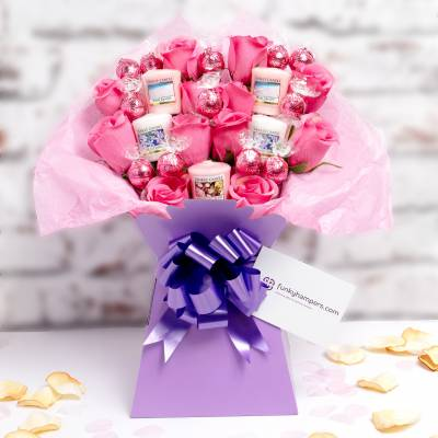 Yankee Candle and Pink Lindor Bouquet