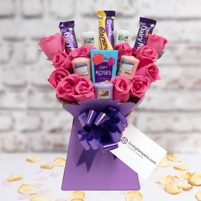 Yankee Candle and Cadbury Pink Roses Bouquet