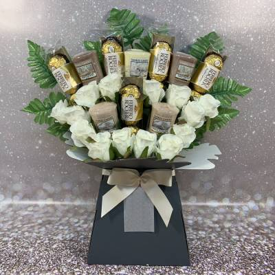 Yankee Candle and Ivory Roses Chocolate Bouquet
