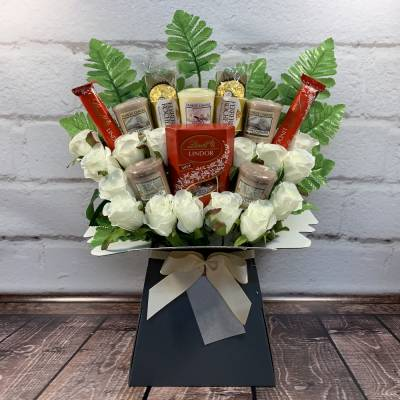 Yankee Candle and Ivory Roses Lindor and Ferrero Bouquet
