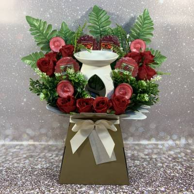 Yankee Candle Burner Candles and Red Roses Bouquet