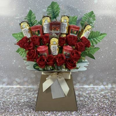 Yankee Candle and Roses Chocolate Bouquet