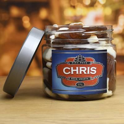 Personalised Pint Pots Sweet Jar
