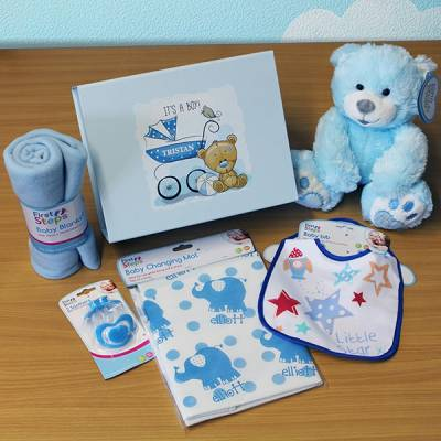 Personalised New Baby Boy Gift Set