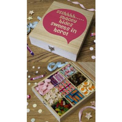 Personalised Shhh Wooden Sweet Hamper