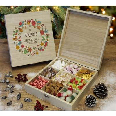 Personalised Christmas Design Wooden Sweet Hamper