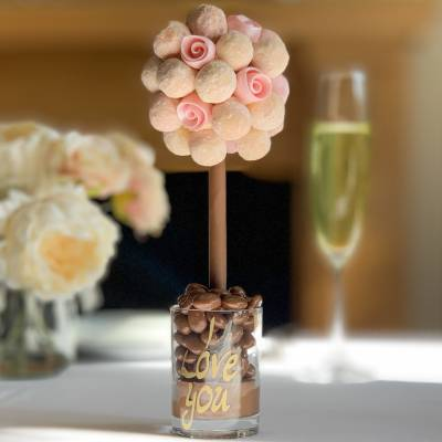 Pink Champagne and Hearts Chocolate Tree