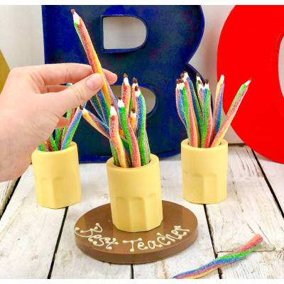 FunkyHampers Chocolate Pencil Pot with Fizzy Pencils