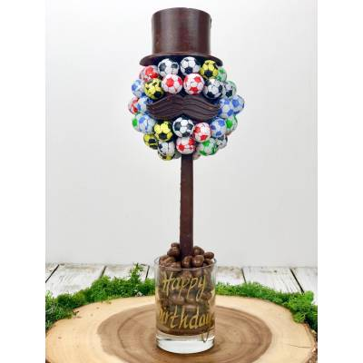 Choc Footballs Hat and Tash Personalised Tree 25cm